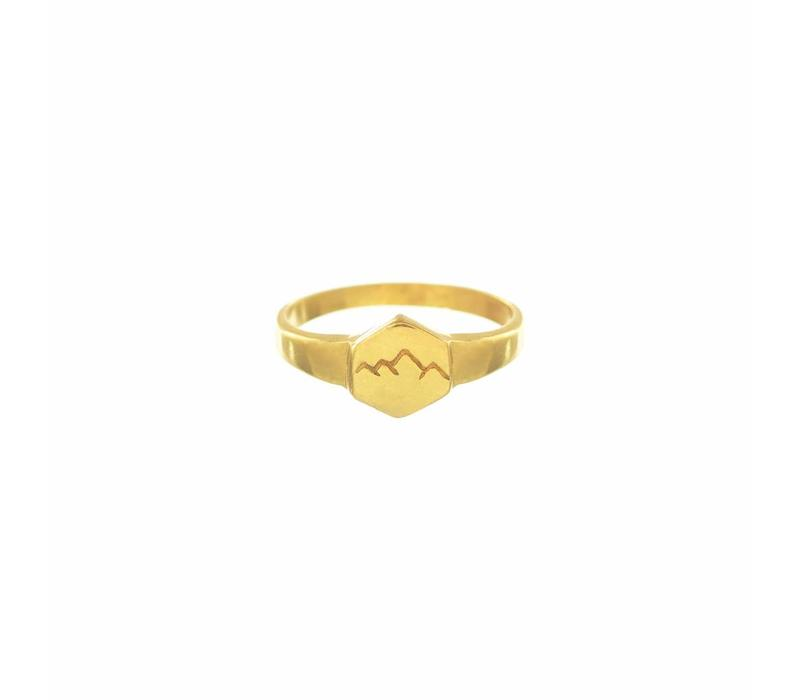 Scenic Signet Ring Gold Plated