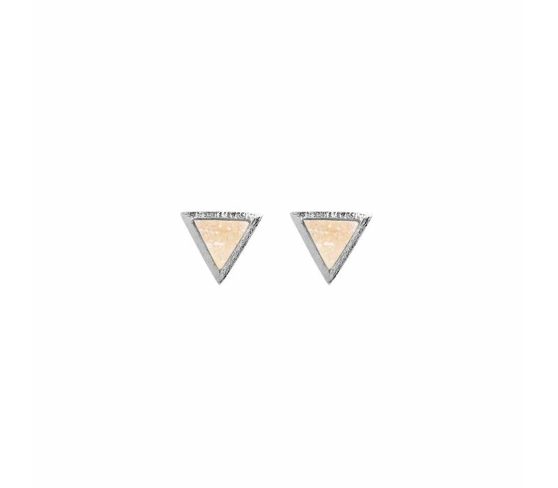Linen Drusy Studs Silver Plated