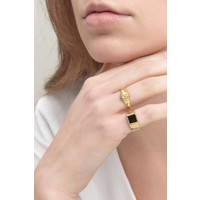 Onyx Signet Ring Gold Plated