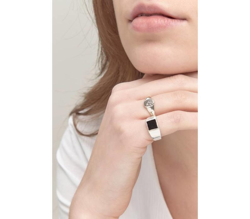 Onyx Signet Ring Silver