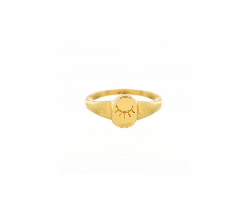 Unwind Signet Ring Gold Plated