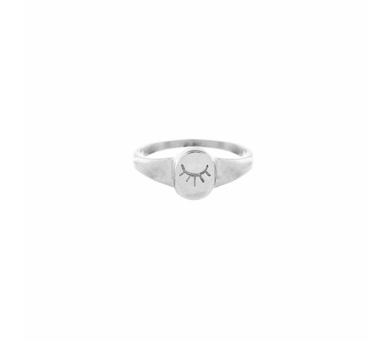 Unwind Signet Ring Zilver