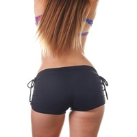 Shakti Activewear Side String Shorts - Black