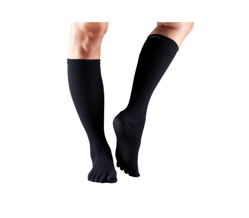 Toesox Yoga Sokken Kniehoogte Dichte Tenen - Zwart