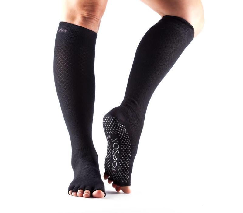 Toesox Yoga Sokken Kniehoogte Open Tenen - Fishnet Black