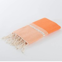 Fouta Shawl - Nid d'Abeille Orange Striped