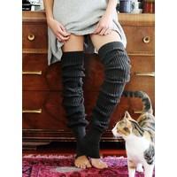 Toesox Thigh High Leg Warmer - Grey