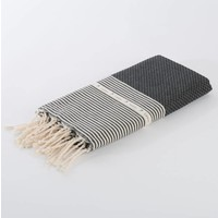 Fouta Shawl - Nid d'Abeille Black Striped