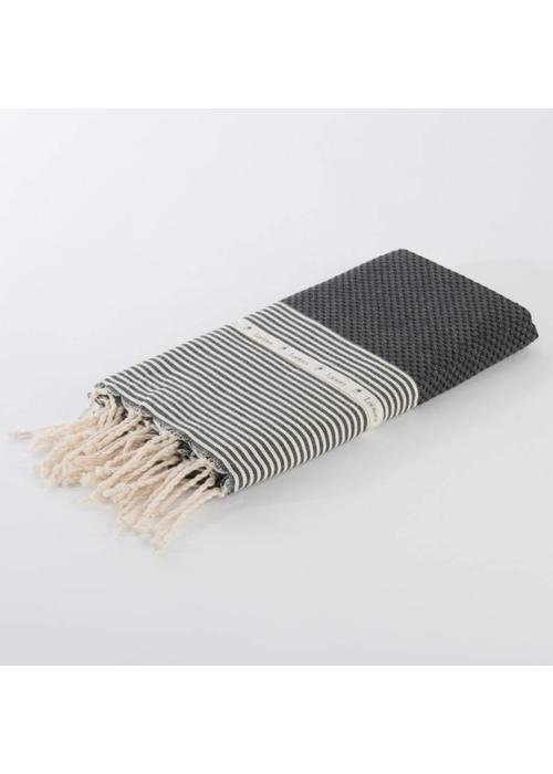 Lantara Fouta Shawl - Nid d'Abeille Black Striped