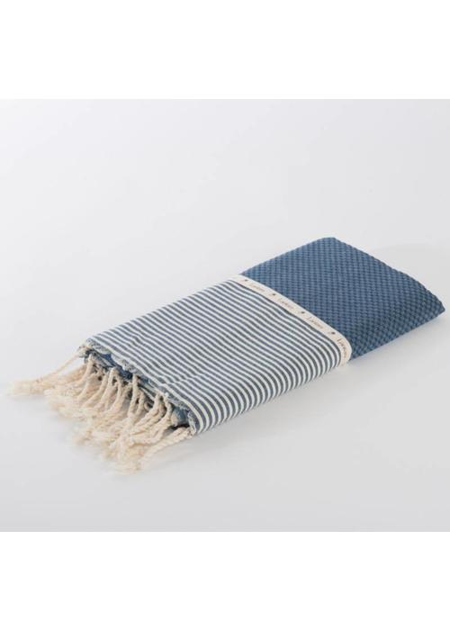 Lantara Fouta Shawl - Nid d'Abeille Jeans Striped