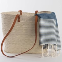 Fouta Shawl - Nid d'Abeille Jeans Striped