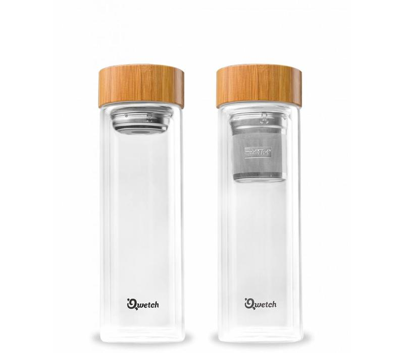 Qwetch Tea Travel Thermos Glass - Bamboo Lid
