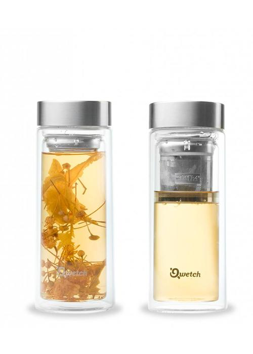 Qwetch Qwetch Tea Travel Thermos Glass - Stainless Steel Lid