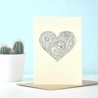 Yoga Ansichtkaart - Heart Henna