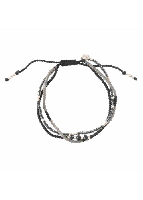 A Beautiful Story A Beautiful Story Winter Mixed Zilveren Armband - Zwarte Onyx