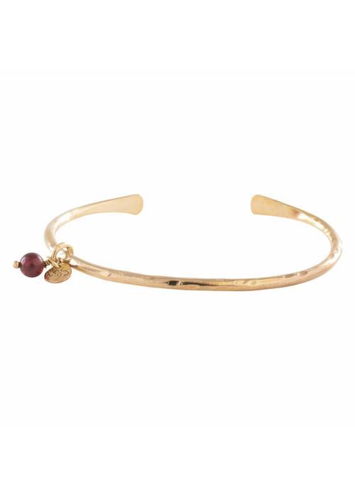 A Beautiful Story A Beautiful Story Teddy Gold Bracelet - Garnet