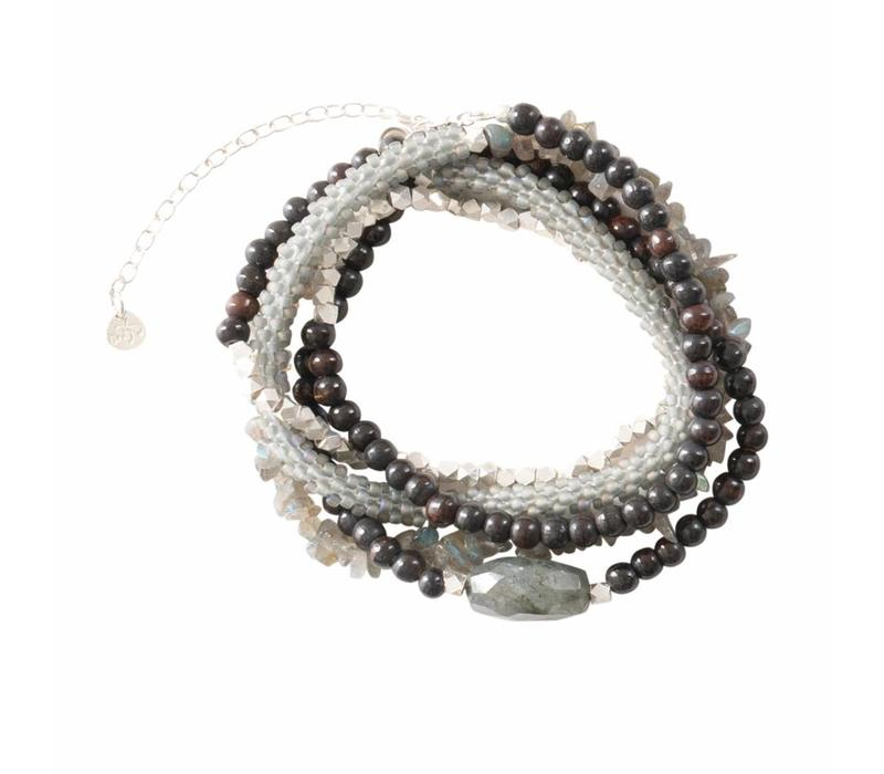 A Beautiful Story Superwrap Silver Bracelet - Libradorite