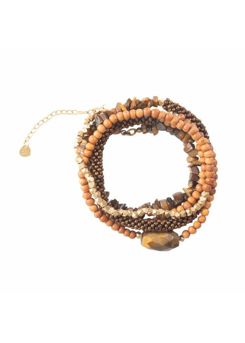 A Beautiful Story A Beautiful Story Superwrap Gold Bracelet - Tiger Eye