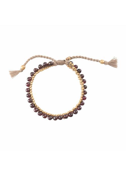 A Beautiful Story A Beautiful Story Jetty Gold Bracelet - Garnet