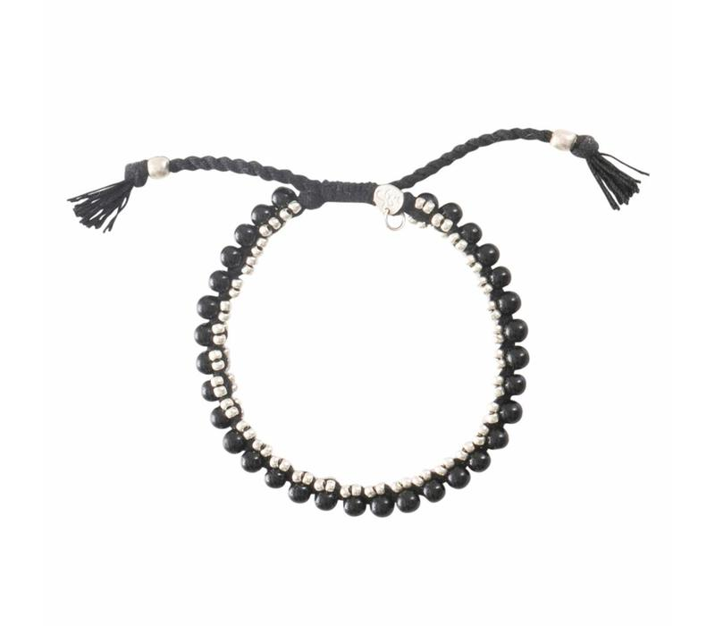 A Beautiful Story Jetty Zilveren Armband - Zwarte Onyx