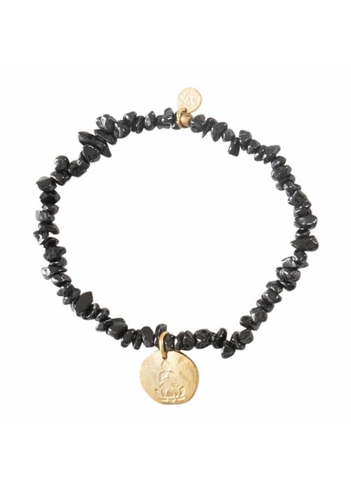 A Beautiful Story A Beautiful Story Power Buddha Gouden Armband - Zwarte Onyx