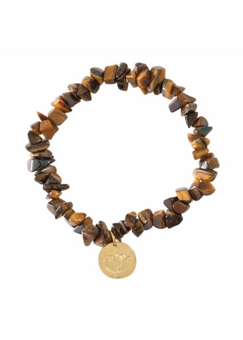 A Beautiful Story A Beautiful Story Power Lotus Gouden Armband - Tijgeroog