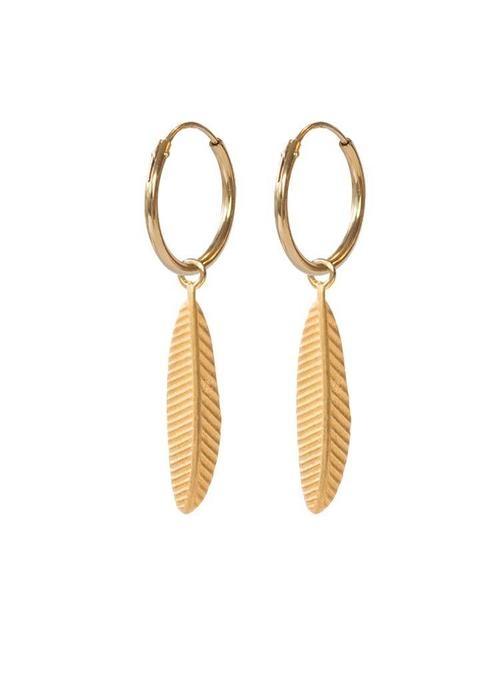 A Beautiful Story A Beautiful Story Sterling Zilver Gold Plated Earrings - Feather