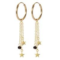 A Beautiful Story Sterling Zilver Vergulden Oorbellen - Granaat Stars