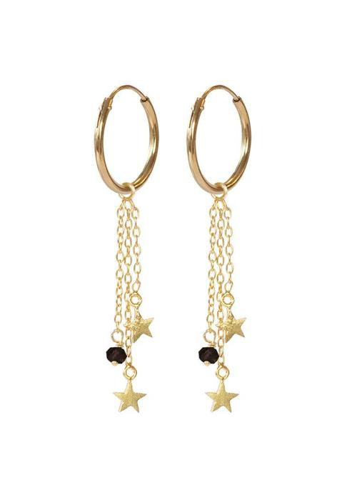 A Beautiful Story A Beautiful Story Sterling Silver Gold Plated Earrings - Garnet Stars