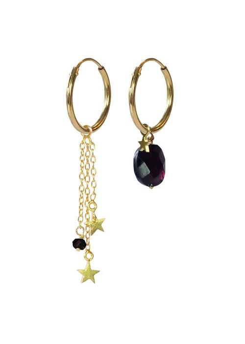 A Beautiful Story A Beautiful Story Sterling Silver Gold Plated Earrings - Garnet Stars Mixed