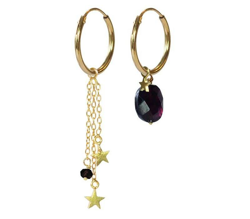 A Beautiful Story Sterling Silver Gold Plated Earrings - Garnet Stars Mixed