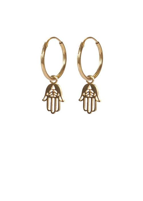 A Beautiful Story A Beautiful Story Sterling Silver Gold Plated Earrings - Hamsa Hand