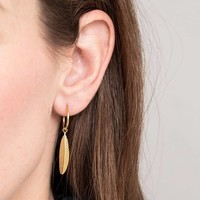 A Beautiful Story Sterling Zilver Gold Plated Earrings - Feather