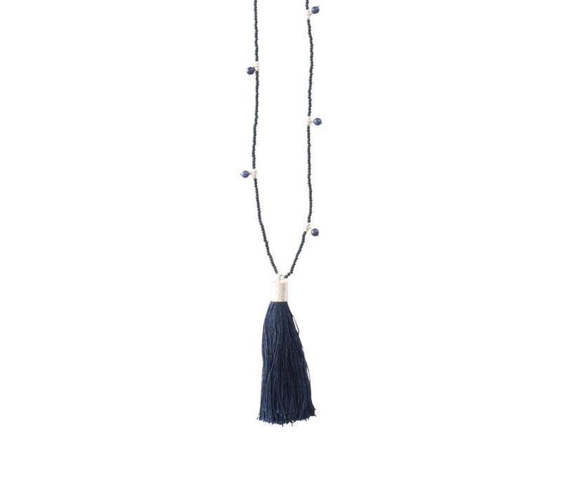A Beautiful Story Luminous Zilveren Ketting - Lapis Lazuli