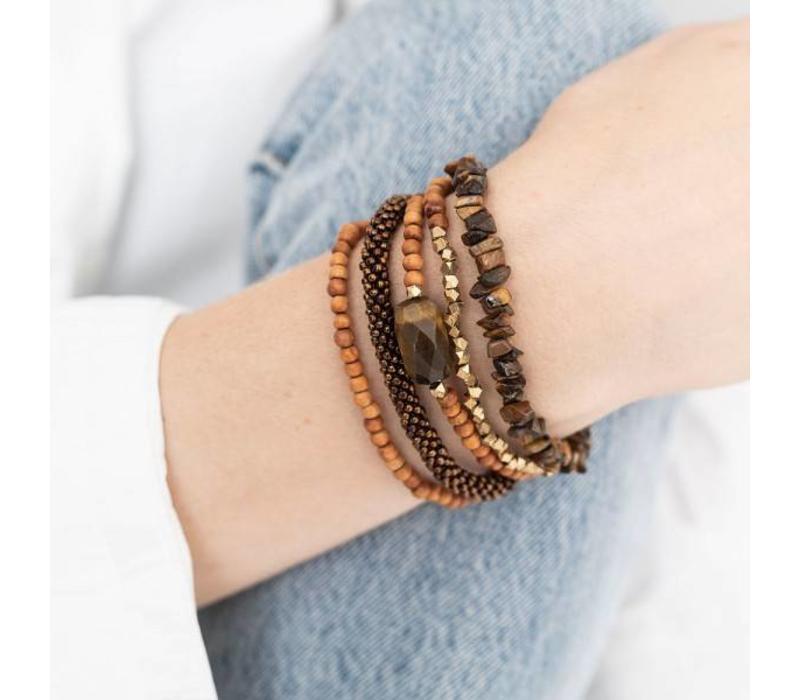 A Beautiful Story Superwrap Gouden Armband - Tijgeroog