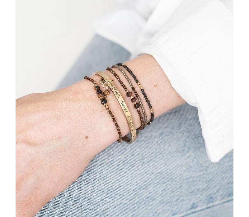 A Beautiful Story Cozy Gouden Armband - Tiger Eye