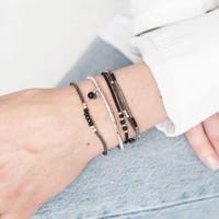 A Beautiful Story Cozy Zilveren Armband - Zwarte Onyx