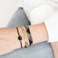 A Beautiful Story Winter Gouden Armband - Zwarte Onyx
