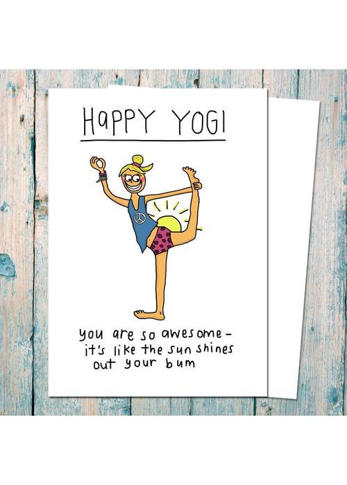 Che Dyer Yoga Postcard - Happy Yogi