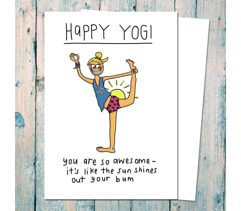 Yoga Ansichtkaart - Happy Yogi