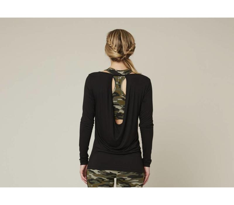Asquith Open Back Tee - Jet Black