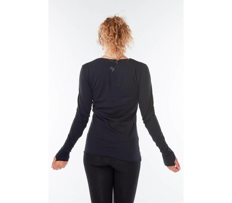 Urban Goddess Just Breathe Yoga Shirt - Urban Black