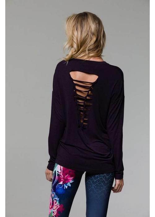 Onzie Onzie Braid Back Long Sleeve - Aubergine One Size
