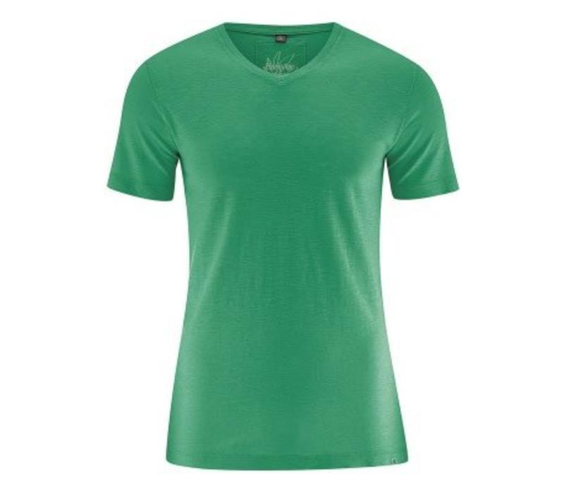 HempAge V-Neck T-Shirt - Smaragd