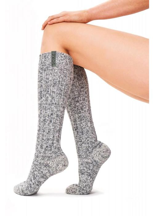 Soxs Soxs Dames Antislip Sokken - Grey Green Knee High