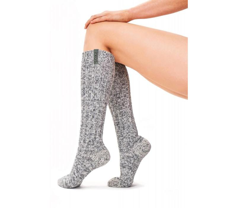 Soxs Dames Antislip Sokken - Grey Green Knee High