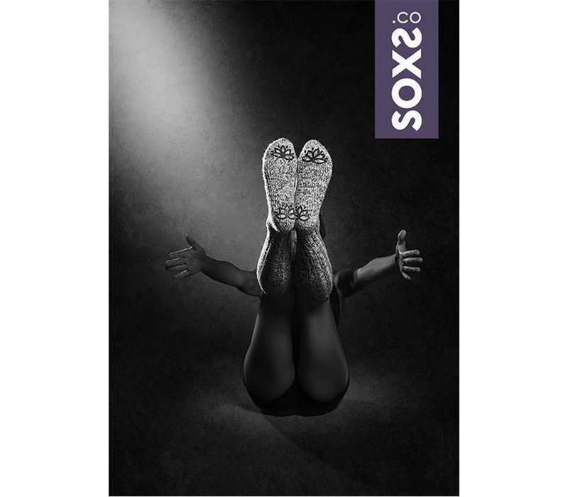 Soxs Women's Anti Slip Socks - Grey Purple Knee High