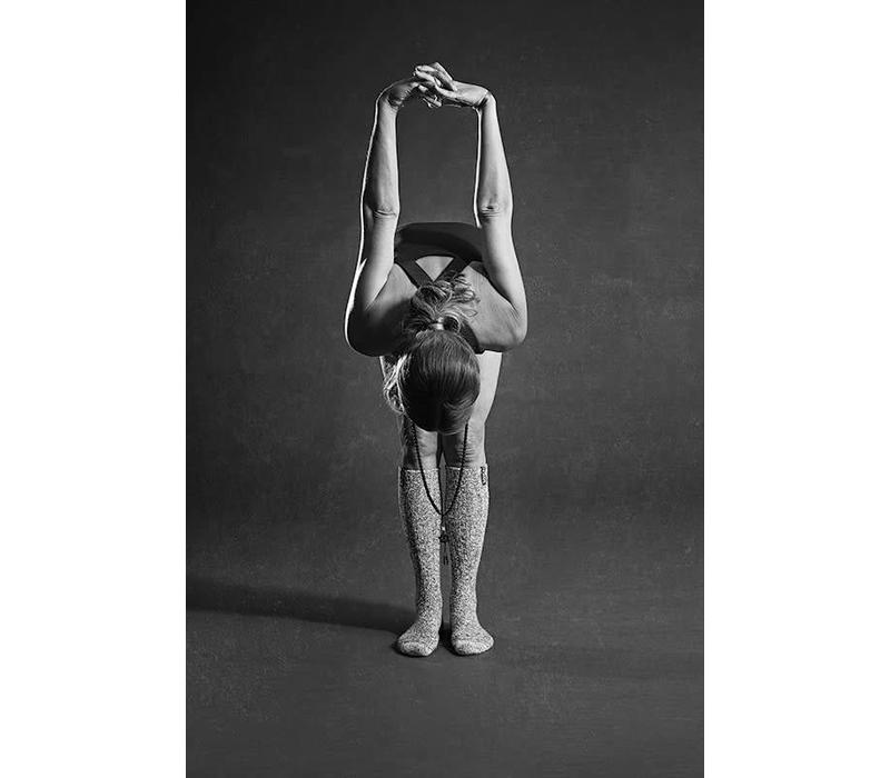 Soxs Dames Antislip Sokken - Grey/Mystical Purple Knee High