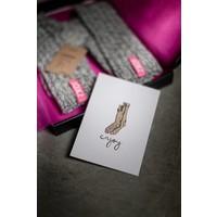 Soxs Damen Anti-Rutsch-Socken - Grey/Mystical Purple Knee High