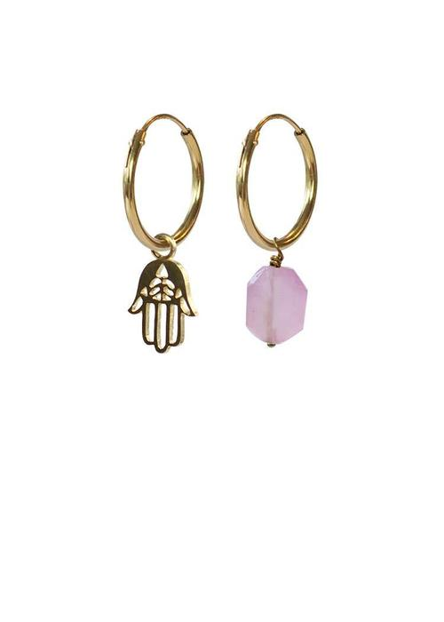 A Beautiful Story A Beautiful Story Gold Plated Silver Earrings - Rose Quartz Hamsa Hand Mixed